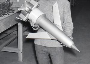 Thunderbird 1 being held by an artist